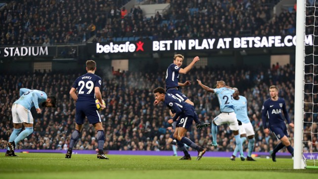UNMARKED: Ilkay Gundongan meets Leroy Sané's corner with a forceful header.