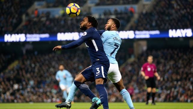 EYES ON THE BALL: Raheem Sterling challenges Tottenham's Danny Rose.