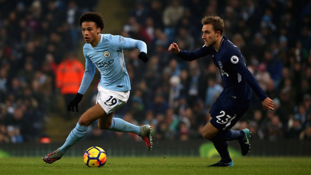 THE PROWL: Leroy Sané looks for an opening.