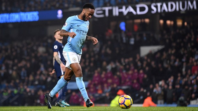 TAP IN: Raheem Sterling makes no mistake for City's fourth goal.