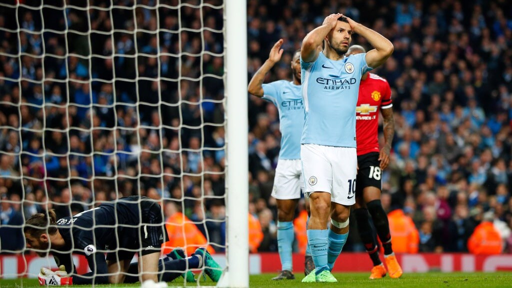 CLOSE: Sergio Agüero went close to scoring his 200th City goal, but was denied by David De Gea_