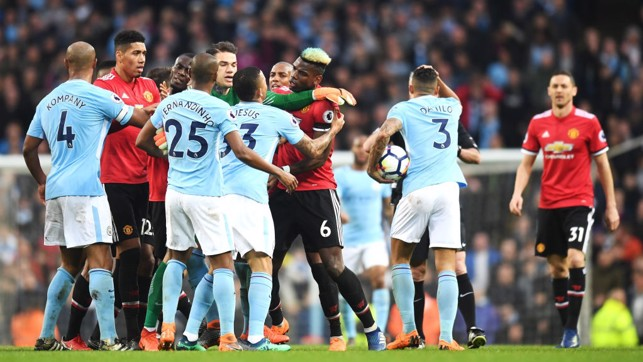 LEVEL: It gets heated at the Etihad after United grab an equaliser.