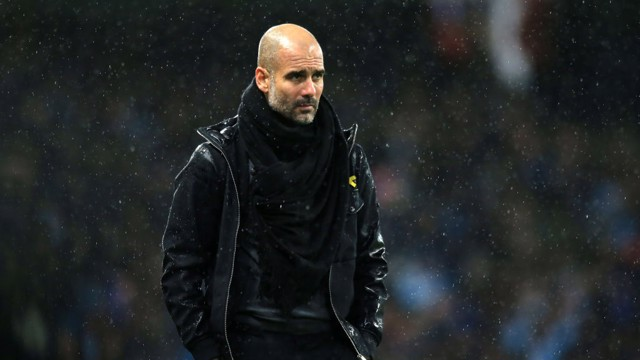 ​MASTERMIND: Pep watches on from the touchline.