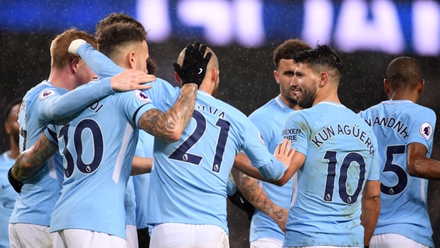 ​SERGIO, SERGIO: City celebrate as Serio Agüero makes it three.