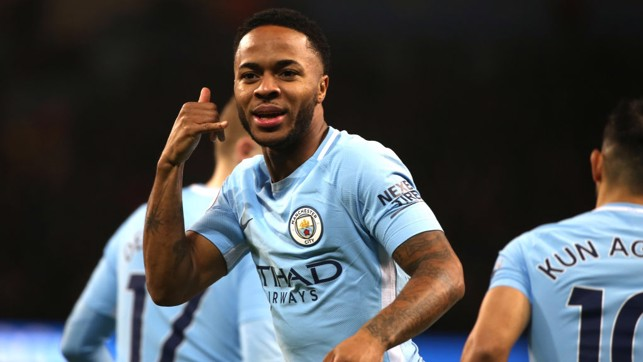 ON FIRE: Raheem Sterling opens the scoring with his ninth goal in nine Premier League home games this season.