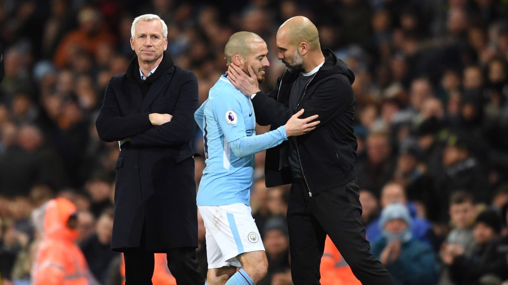 PAINFUL: David Silva is forced off through injury in the first half