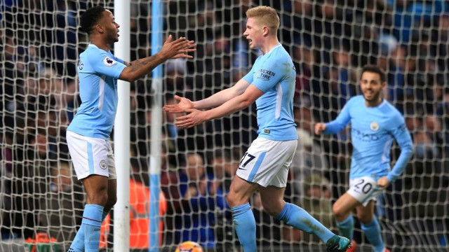 CENTURY: Kevin De Bruyne bags City's 100th goal in all competitions in the recent 3-0 win away at West Brom