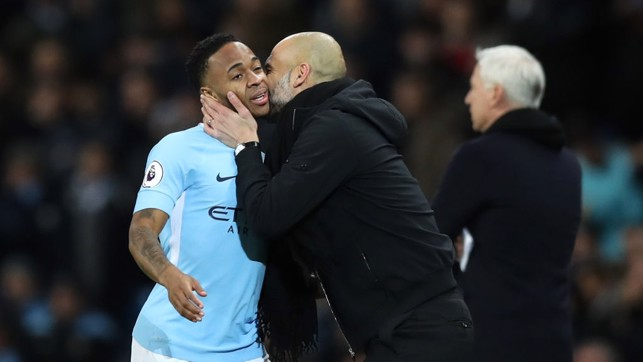 ​SMOOCH: Pep gives Raheem a peck on the cheek.