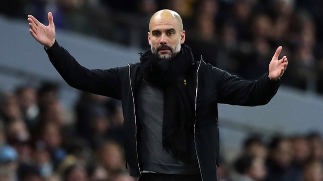 ​PEP WATCH: The manager observes from the touchline.