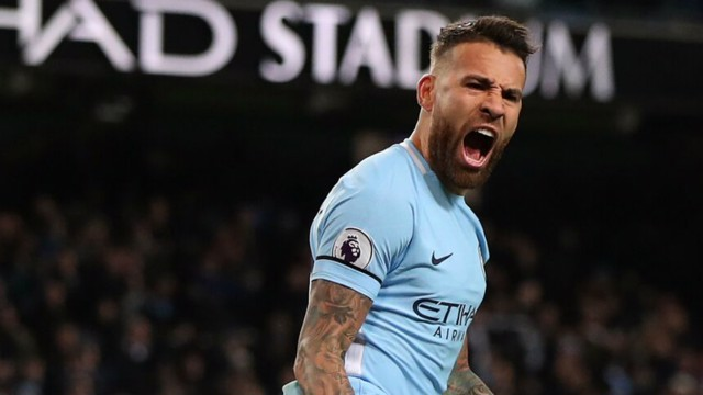 YEAH: Nicolas Otamendi - overjoyed with his fourth of the season