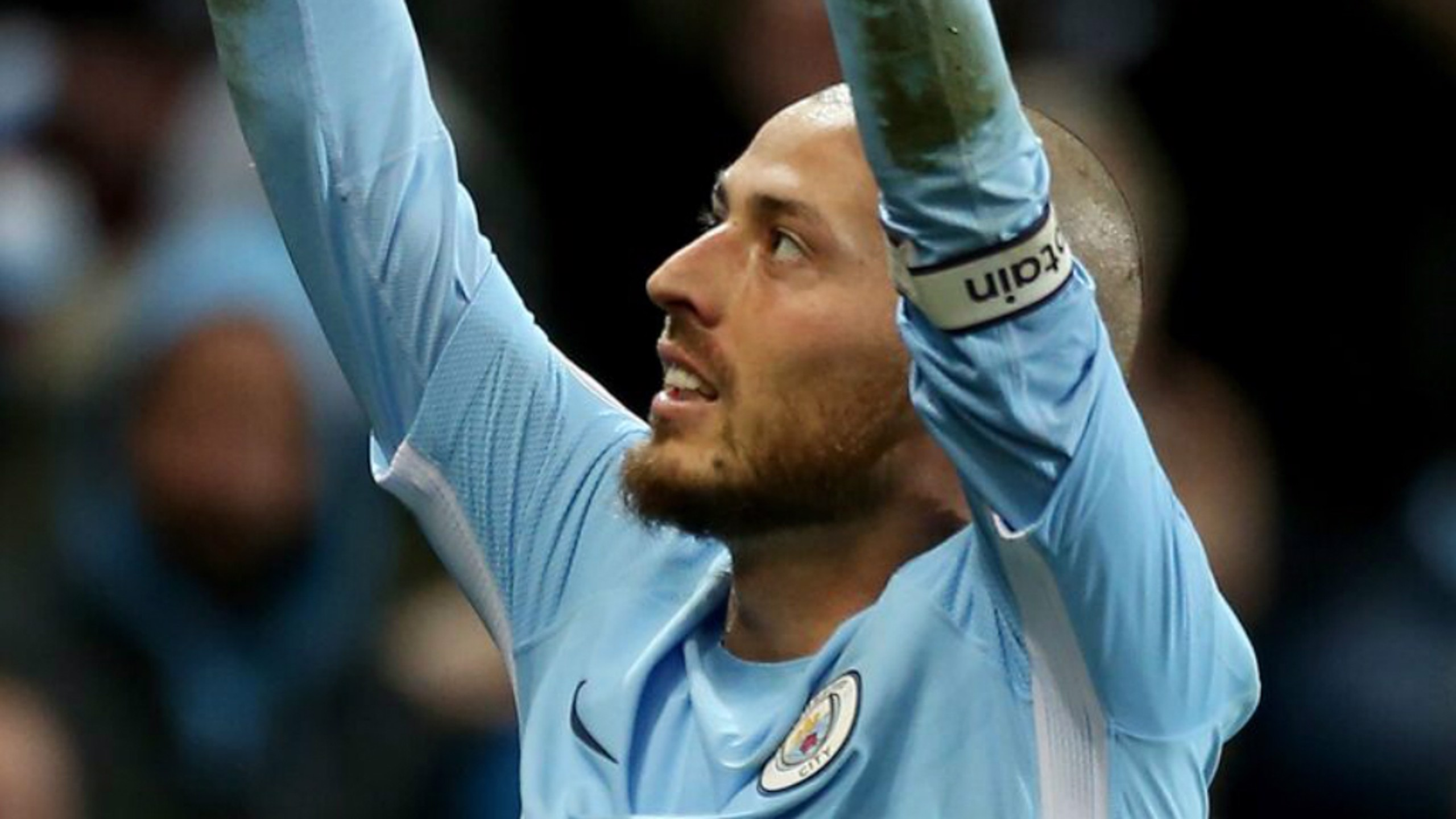 EL MAGO: David Silva celebrates his contract extension by bagging the winner against West Ham