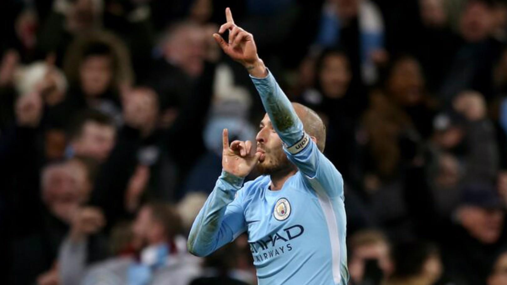 David Silva celebra el gol de la victoria ante el West Ham.