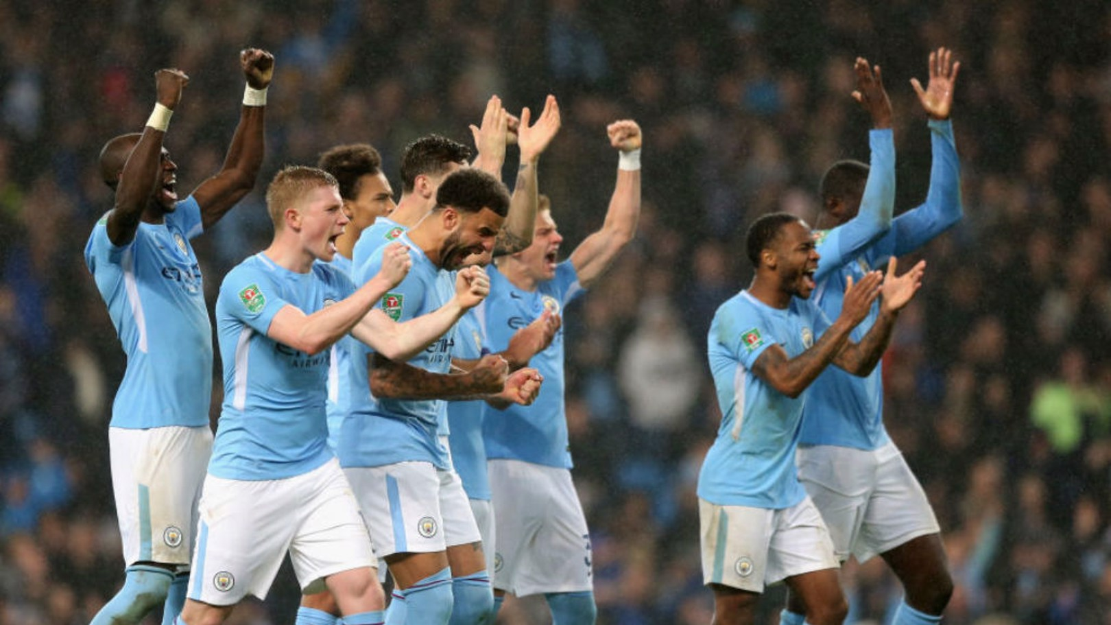 PENALTY PRIZE: The City players celebrate their spot-kick success