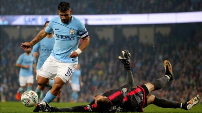 SO CLOSE: Sergio Aguero is denied by Wolves keeper Will Norris