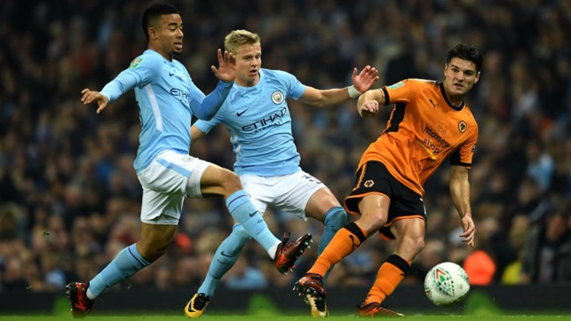 PRESS GANG: Gabriel Jesus and Oleksandr Zinchenko take the game to Wolves