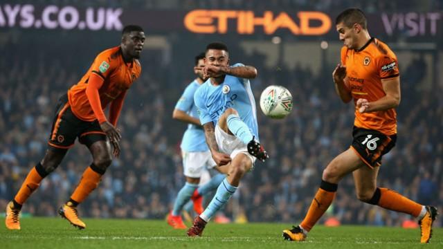 BRAZILIAN BLEND: Gabriel Jesus fires in a shot on goal