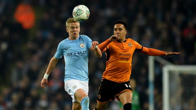 ACTION MAN: Oleksandr Zinchenko takes the game to Wolves