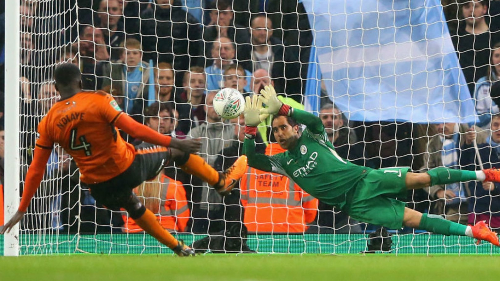 HAND IT TO BRAVO: Claudio Bravo makes a wonderful save in the penalty shoot-out