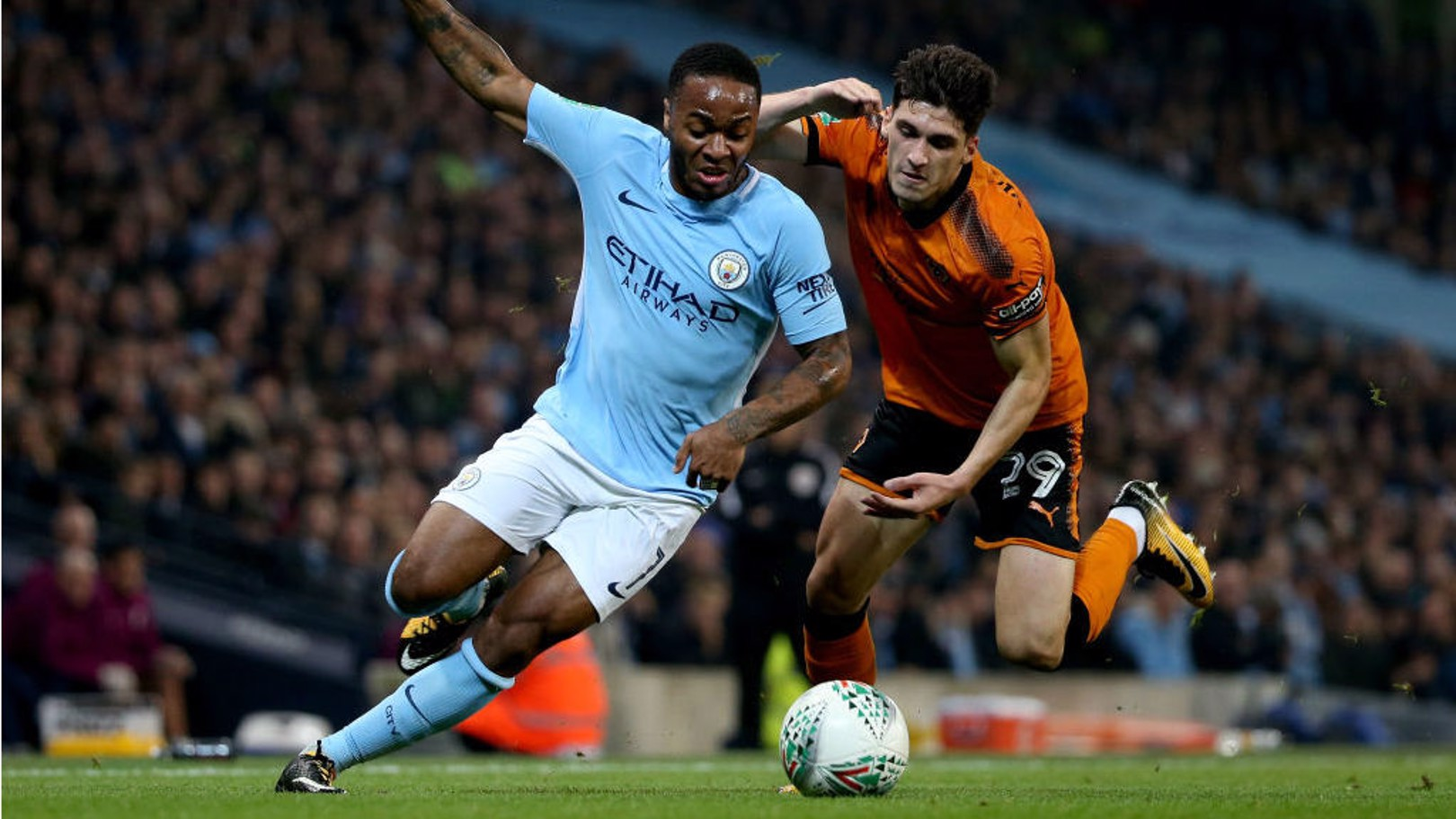 WIDE BERTH: Raheem Sterling creates havoc in the Wolves defence