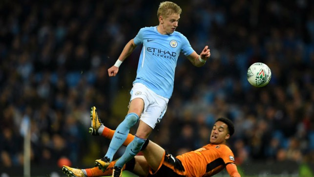 FIRST FOOTING: Oleksandr Zinchenko shows his eye for a break