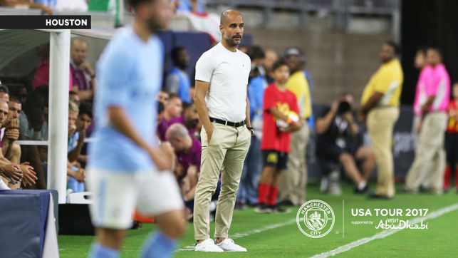 A CITY UNITED: Pep Guardiola watches on