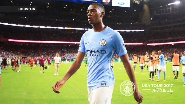 A CITY UNITED: Tosin Adarabioyo exits the pitch