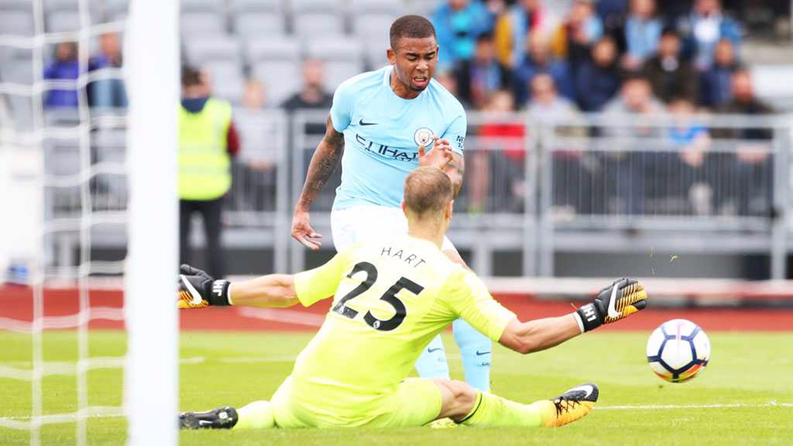 ON TARGET: Gabriel Jesus opens the scoring for City against West Ham in Reykjavik