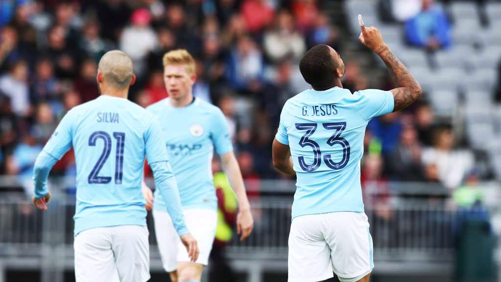 ICE COOL: Gabriel Jesus celebrates after putting City into an early lead against West Ham