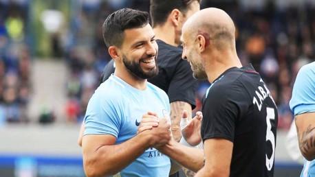 OLD PALS ACT: Sergio Aguero and Pablo Zabaleta exchange pre-match greetings