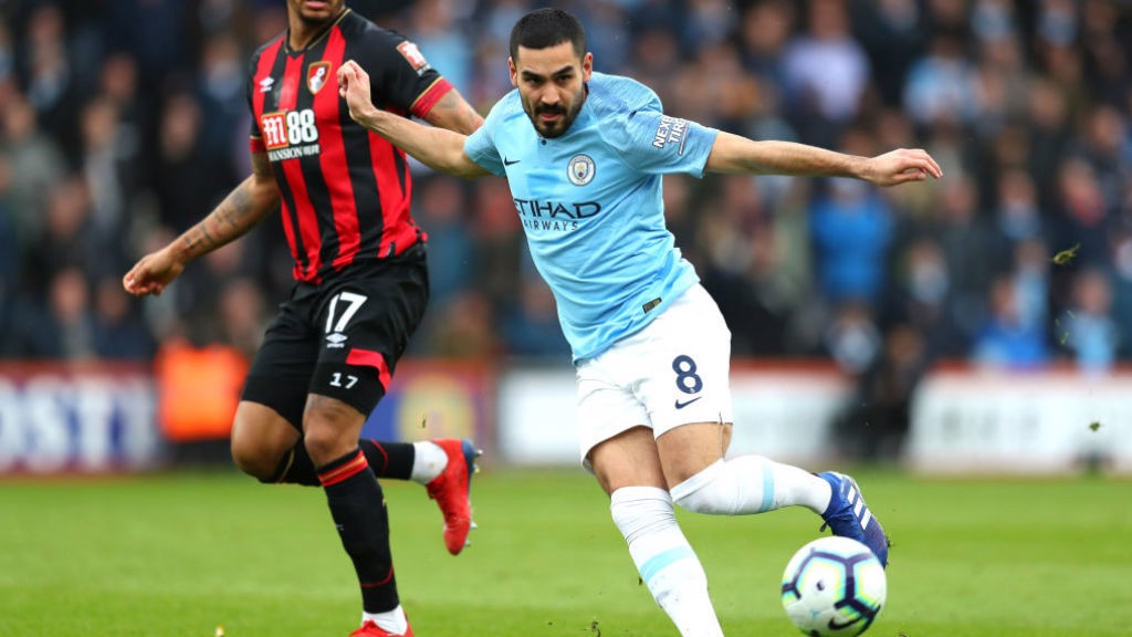 CENTURY MAN: Ilkay Gundogan in the thick of the action on his 100th appearance for the Blues