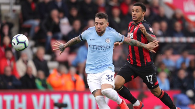 NO ENTRY: Nicolas Otamendi shuts the door on Bournemouth's Josh King