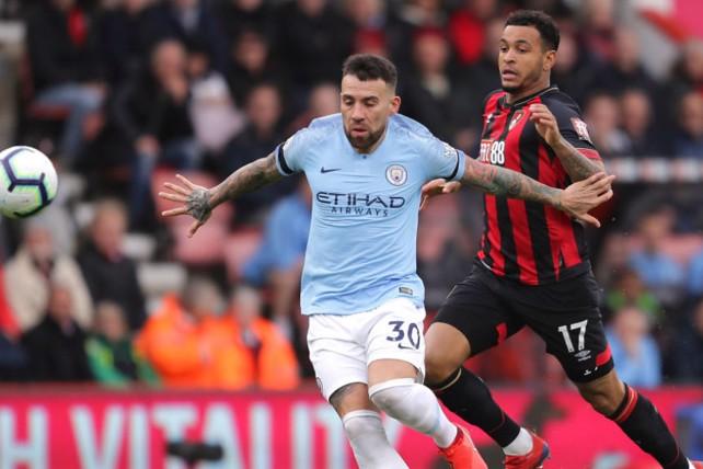 NO ENTRY: Nicolas Otamendi shuts the door on Bournemouth's Josh King