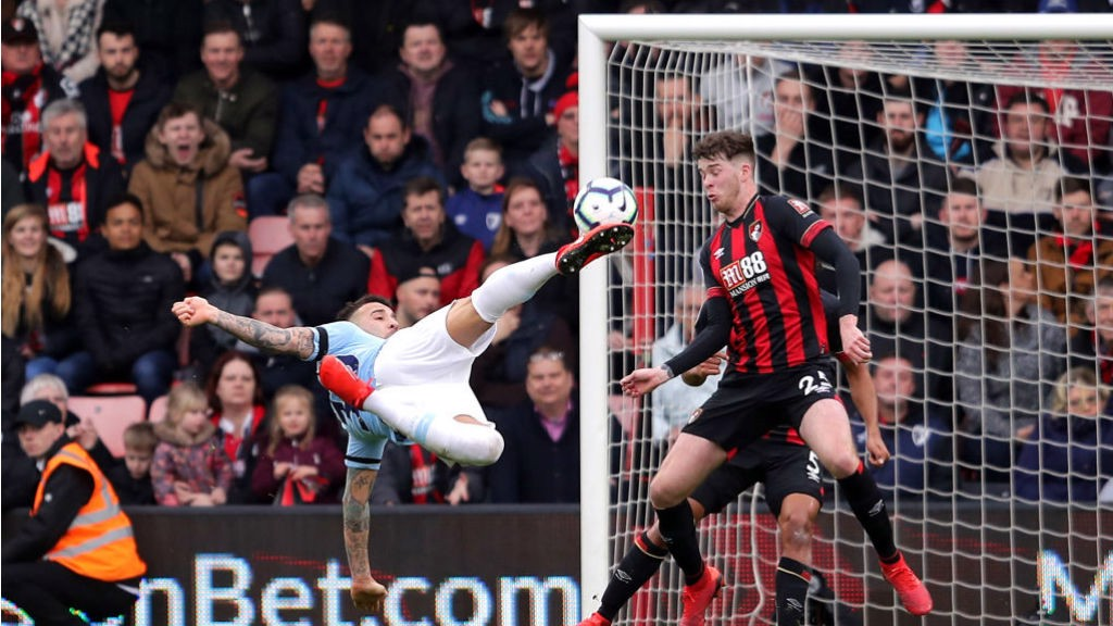 IN HIS LOCKER: Nico's spectacular effort at Bournemouth