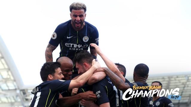 CHAMPIONS: Celebrating Aymeric Laporte's goal.