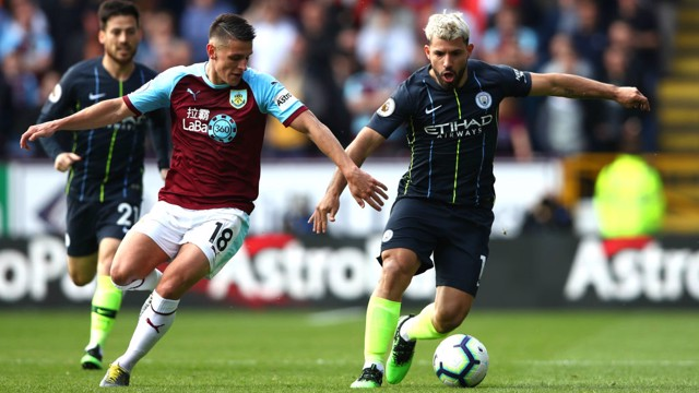 POWER SERG: A fierce 20-yard effort from Aguero was the closest City came to opening the scoring in the first half.