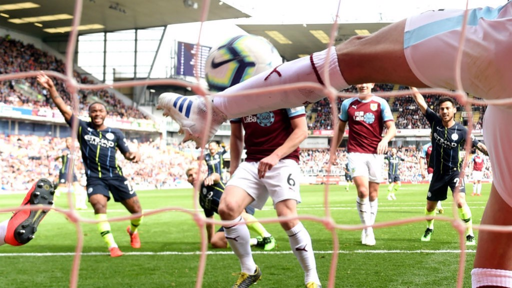 MILLIMETRES: Matthew Lowton was SO CLOSE to denying Sergio's winning goal.