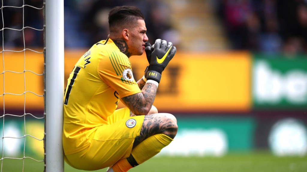 TENSE: Ederson watches on as the clock ticks down.