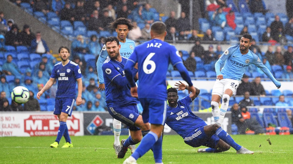 FIVE-STAR CITY: Riyad Mahrez scores his second and City's fifth