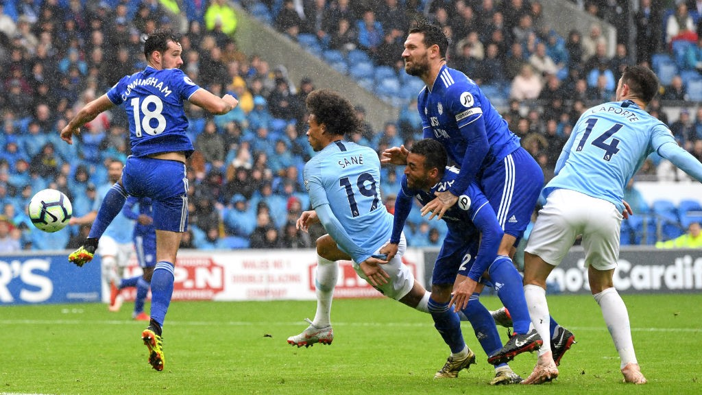 SO CLOSE: Leroy Sane's header brushed the post against Cardiff
