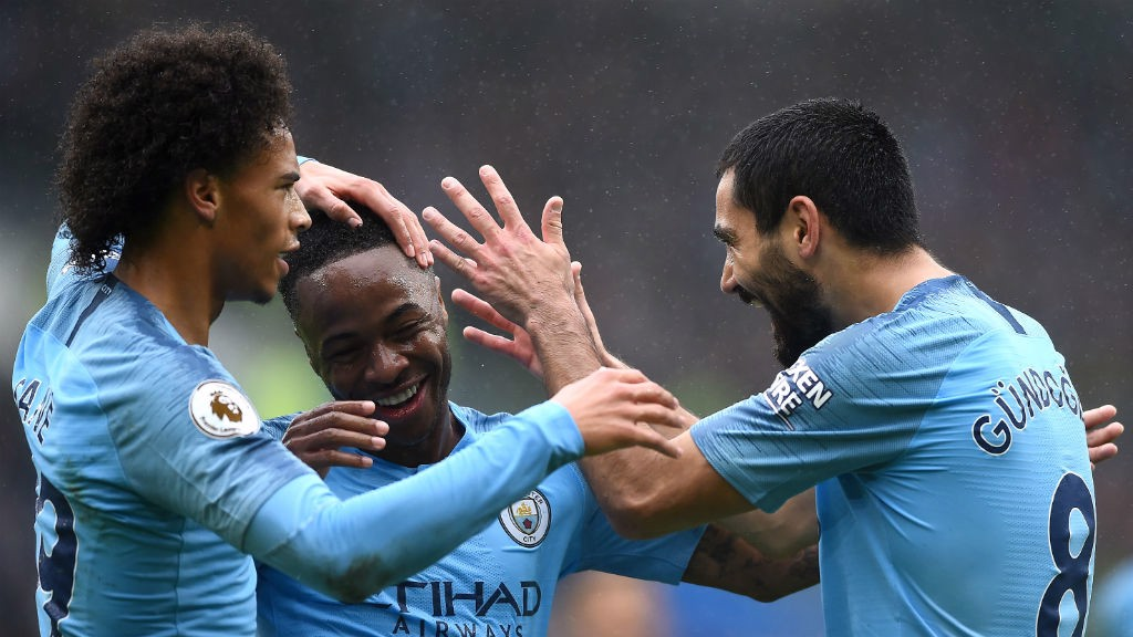 FEELING GOOD: Leroy Sane, Raheem Sterling and Ilkay Gundogan