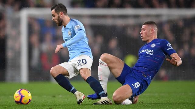 VAMOS BERNARDO: The City midfielder gets away from Ross Barkley