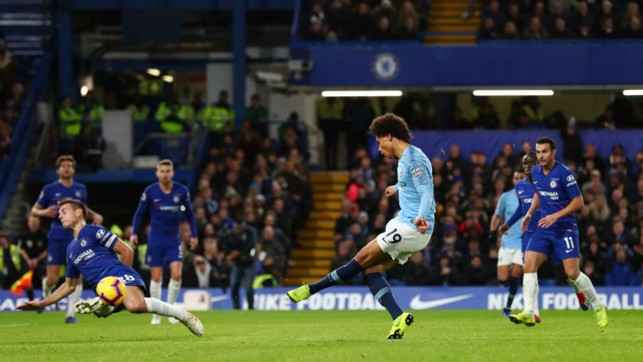 SUPER SANE: Leroy's effort is blocked as City continue to pile on the first-half pressure