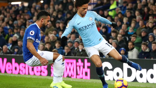 SKILLFUL SANE: Leroy Sane looks to cut inside Everton's Theo Walcott