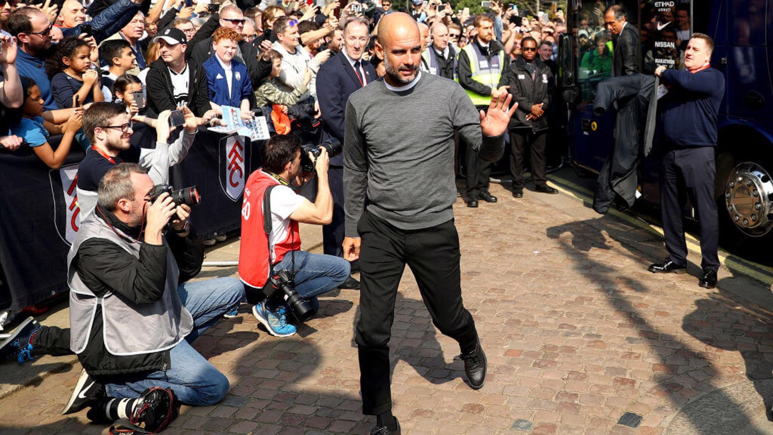 THE BOSS: Pep Guardiola arrives at Craven Cottage