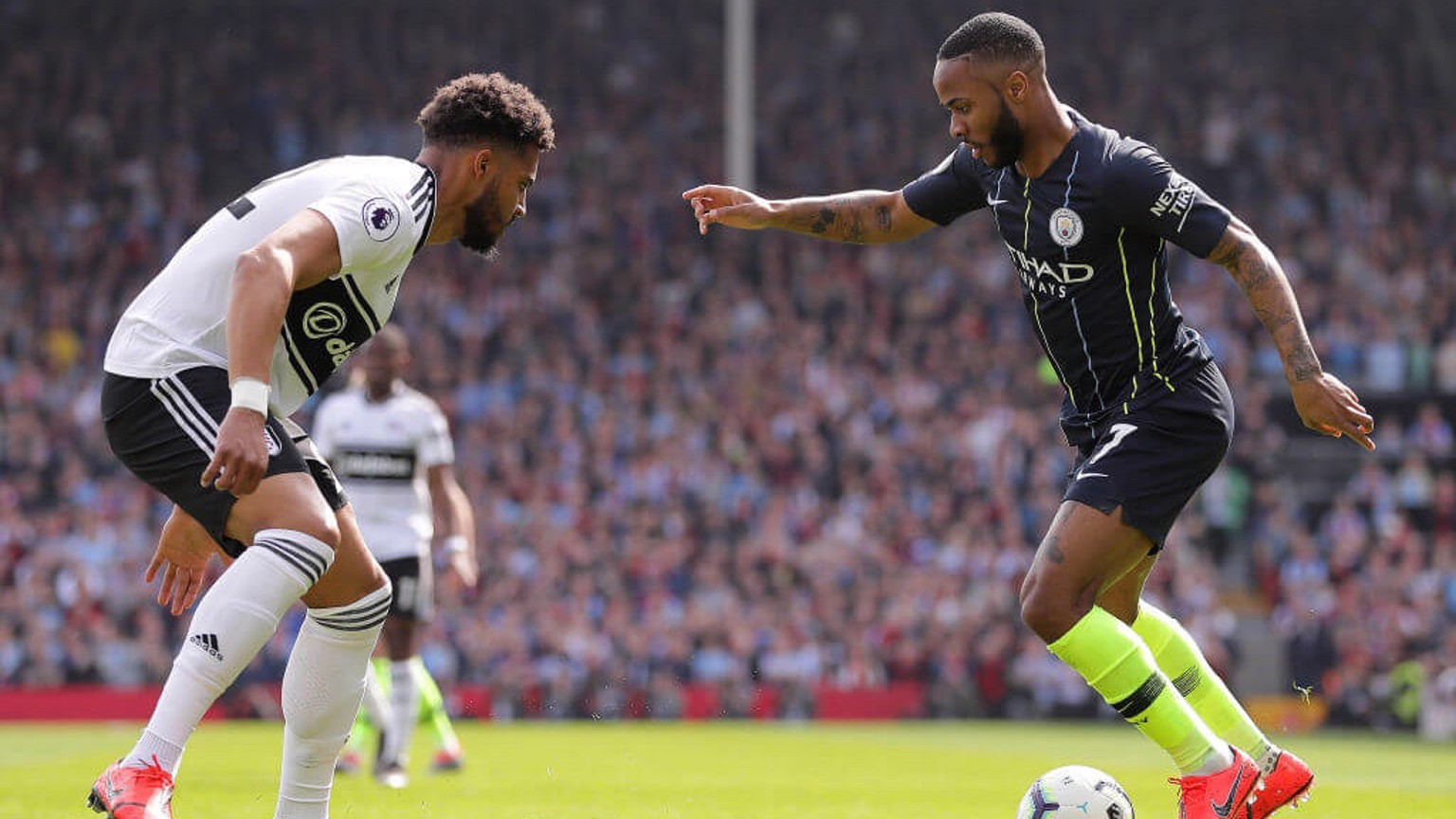 RAZZLE DAZZLE: Raheem Sterling takes on Cyrus Christie