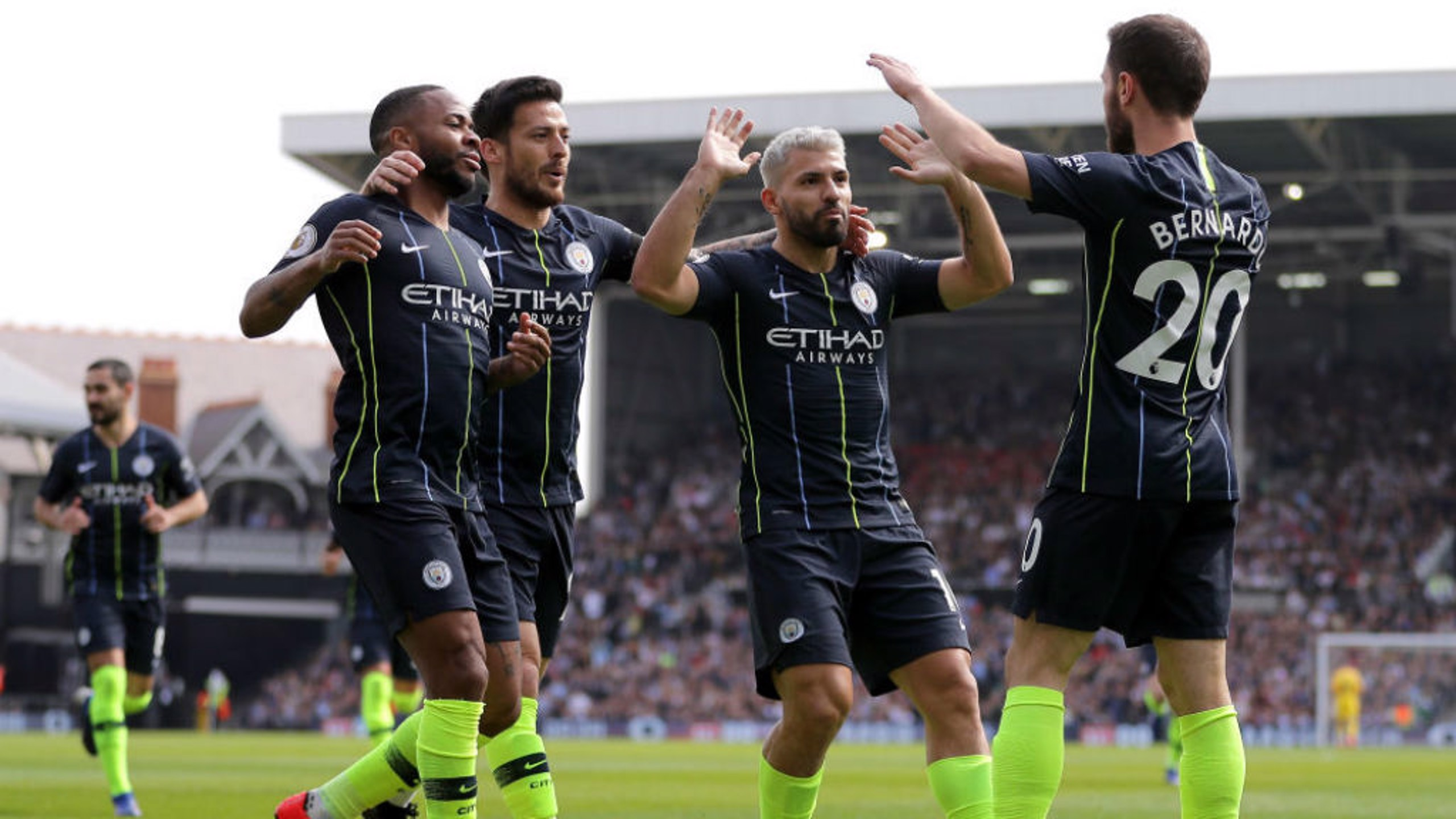 JUST CAPITAL: The City players celebrate after Bernardo's brilliant opener