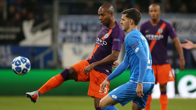 BY THE RIGHT: Fernandinho looks to set up a City attack