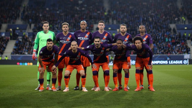 SQUAD GOALS: The City team line up before kick-off