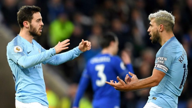 ON THE MARK: Bernardo celebrates after his goal with skipper Sergio Aguero