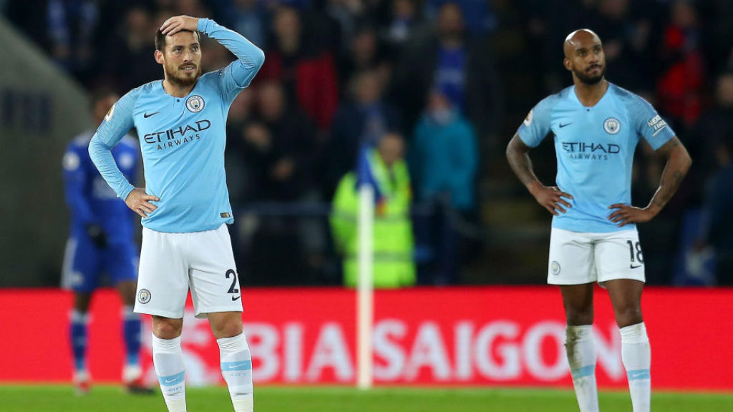 BOXING DAY BLUES: The expressions on the faces of David Silva and Fabian Delph sum up the day